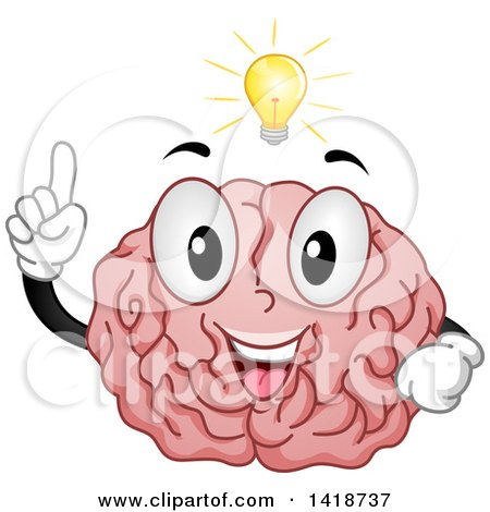 Clipart of a Brain Mascot with an Idea - Royalty Free Vector Illustration by BNP Design Studio