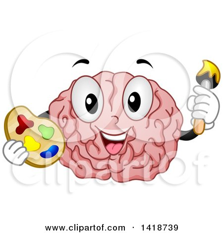 Clipart of a Brain Mascot Artist Holding a Palette and Paintbrush - Royalty Free Vector Illustration by BNP Design Studio