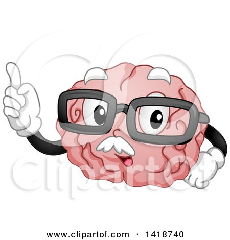 Clipart of a Cartoon Old Brain Mascot Holding up a Finger and Wearing Glasses - Royalty Free Vector Illustration by BNP Design Studio