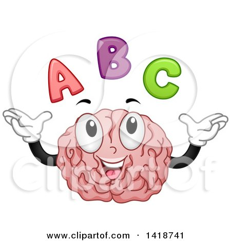 Clipart of a Brain Mascot with Abc Alphabet Letters - Royalty Free Vector Illustration by BNP Design Studio