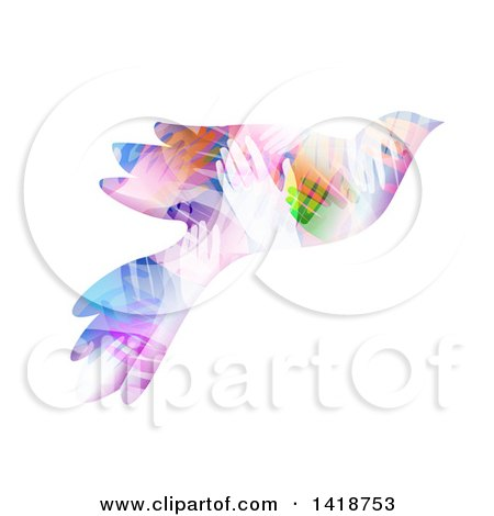 Clipart of a Dove Made of Colorful Hands - Royalty Free Vector Illustration by BNP Design Studio