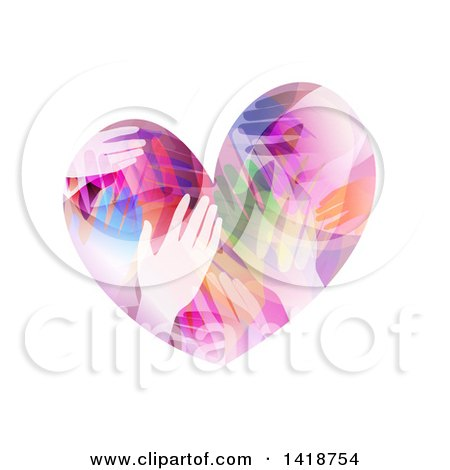 Clipart of a Heart Made of Colorful Hands - Royalty Free Vector Illustration by BNP Design Studio