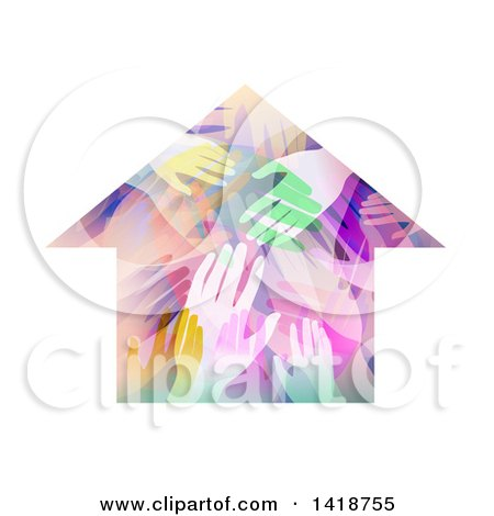 Clipart of a House Made of Colorful Hands - Royalty Free Vector Illustration by BNP Design Studio
