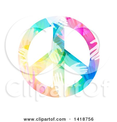 Clipart of a Peace Symbol Made of Colorful Hands - Royalty Free Vector Illustration by BNP Design Studio