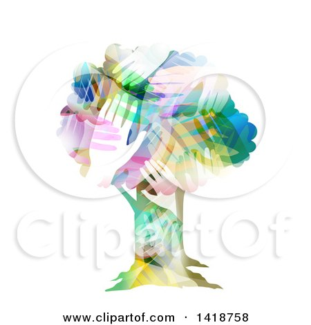 Clipart of a Tree Made of Colorful Hands - Royalty Free Vector Illustration by BNP Design Studio