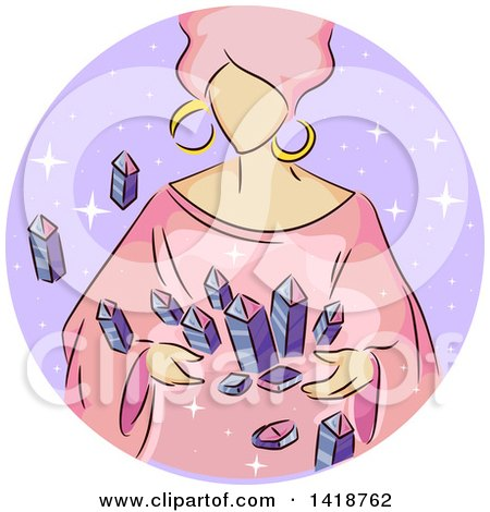 Clipart of a Sketched Gypsy Woman with Crystals - Royalty Free Vector Illustration by BNP Design Studio