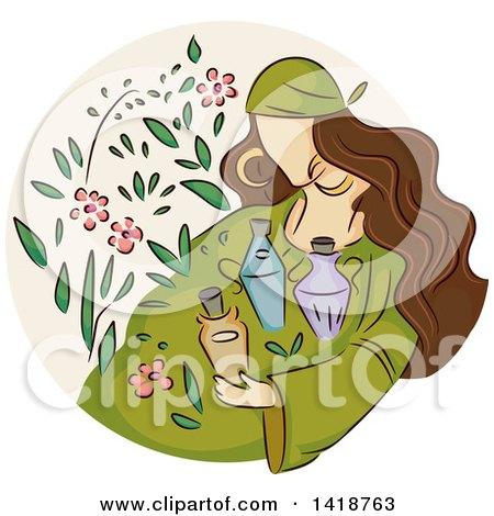 Clipart of a Sketched Gypsy Woman with Herbs and Potions - Royalty Free Vector Illustration by BNP Design Studio