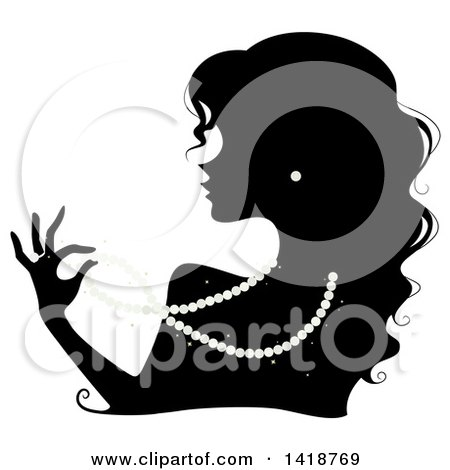 Clipart of a Black Silhouetted Woman Wearing Pearl Earrings and a Ring and Playing with a Necklace - Royalty Free Vector Illustration by BNP Design Studio