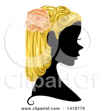 Clipart of a Silhouetted Woman in Profile with Blond Hair and a Flower - Royalty Free Vector Illustration by BNP Design Studio