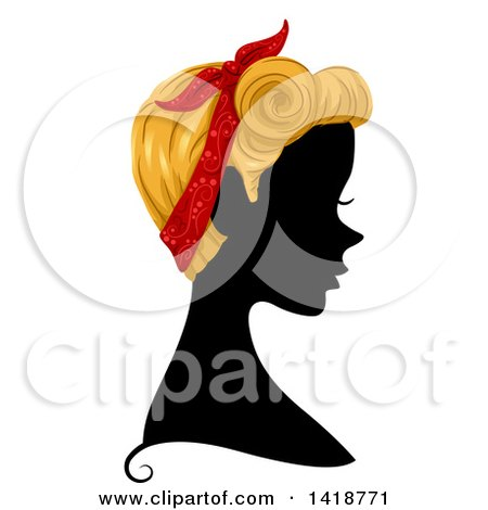 Clipart of a Silhouetted Woman in Profile with Blond Hair and a Bandana - Royalty Free Vector Illustration by BNP Design Studio