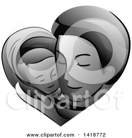 Clipart of a Grayscale Father Holding His Baby in a Heart - Royalty Free Vector Illustration by BNP Design Studio