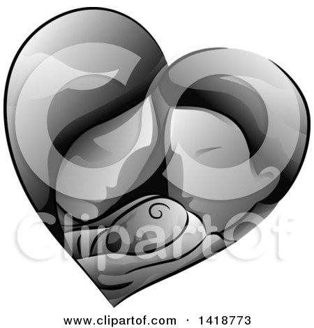 Clipart of a Grayscale Mother and Father Holding Their Baby in a Heart - Royalty Free Vector Illustration by BNP Design Studio