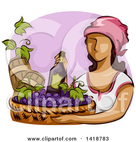 Clipart of a Sketched Woman Carrying a Basket of Wine and Grapes - Royalty Free Vector Illustration by BNP Design Studio