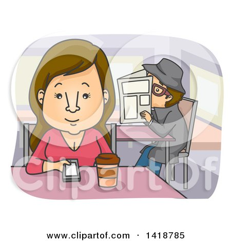 Clipart of a Cartoon Brunette Woman Drinking Coffee at a Diner and Being Stalked by a Man - Royalty Free Vector Illustration by BNP Design Studio