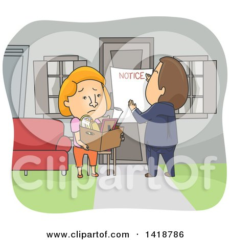 Clipart of a Cartoon Caucasian Woman Being Evicted from Her Home - Royalty Free Vector Illustration by BNP Design Studio