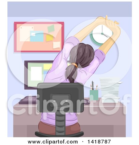 Clipart of a Rear View of a Woman Stretching at a Computer Desk - Royalty Free Vector Illustration by BNP Design Studio
