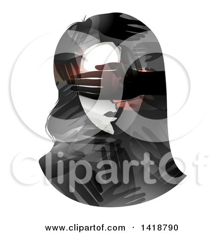 Clipart of a Woman's Face with Hands Covering Her Eyes - Royalty Free Vector Illustration by BNP Design Studio