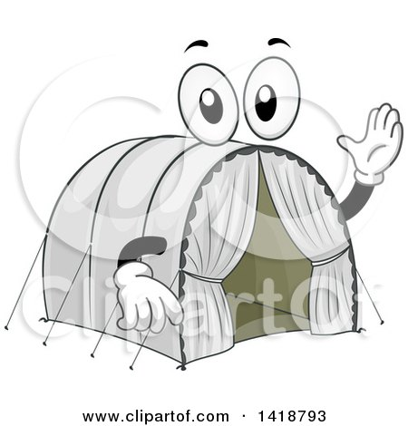 Clipart of a Refugee Camp Tent Mascot - Royalty Free Vector Illustration by BNP Design Studio