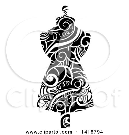 Clipart of a Mannequin Made with Black and White Swirly Vines - Royalty Free Vector Illustration by BNP Design Studio