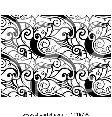 Clipart of a Black and White Background with Swirl Vines - Royalty Free Vector Illustration by BNP Design Studio