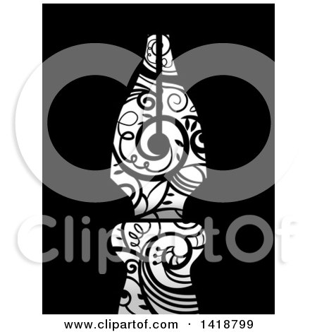 Clipart of a Fountain Pen Nib with Swirl Vines on Black - Royalty Free Vector Illustration by BNP Design Studio