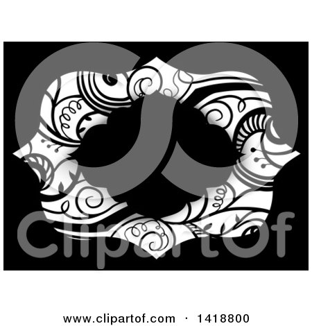 Clipart of a Black Frame over Swirl Vines - Royalty Free Vector Illustration by BNP Design Studio