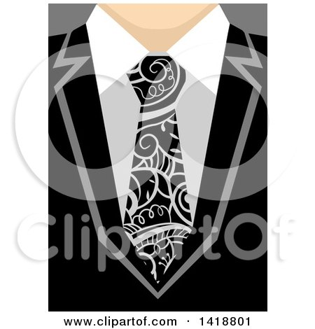 Clipart of a Business Man Wearing a Tie with Swirl Vines - Royalty Free Vector Illustration by BNP Design Studio