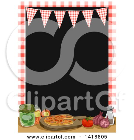 Clipart of a Checkered Frame and Bunting over Pizza and Ingredients - Royalty Free Vector Illustration by BNP Design Studio