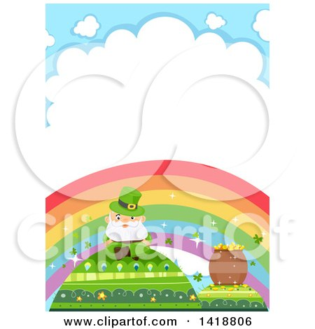 Clipart of a Leprechaun and Pot of Gold on Hills Under a Rainbow - Royalty Free Vector Illustration by BNP Design Studio