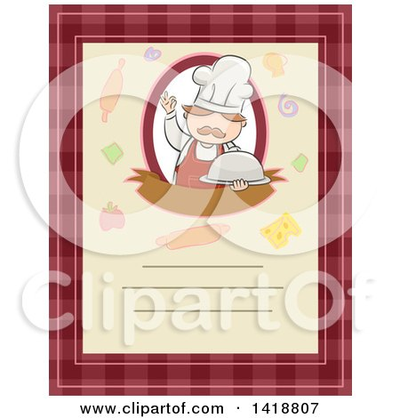 Clipart of a Menu with Text Space and a Chef Holding a Cloche - Royalty Free Vector Illustration by BNP Design Studio