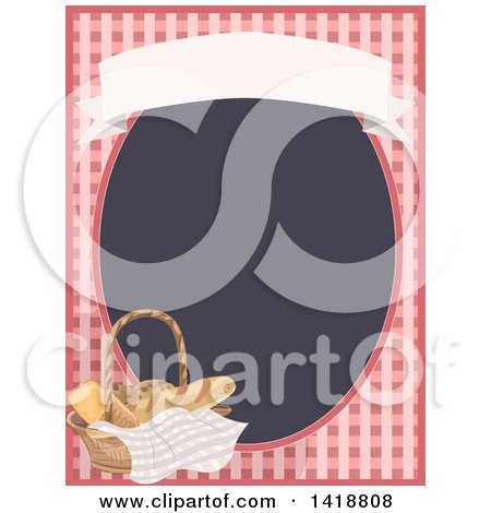 Clipart of a Gingham Frame with a Basket of Bread - Royalty Free Vector Illustration by BNP Design Studio
