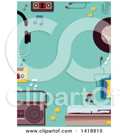 Clipart of a Border of Retro Music Items on Turquoise - Royalty Free Vector Illustration by BNP Design Studio