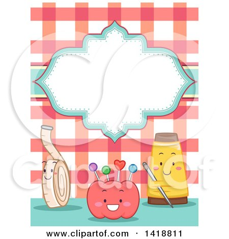Clipart of a Blank Label over Happy Sewing Notion Mascots - Royalty Free Vector Illustration by BNP Design Studio