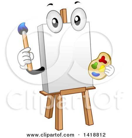 Clipart of a Canvas and Art Easel Mascot - Royalty Free Vector Illustration by BNP Design Studio