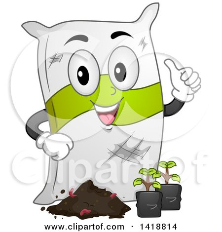 Clipart of a Sack of Fertilizer Mascot with Seedling Plants - Royalty Free Vector Illustration by BNP Design Studio