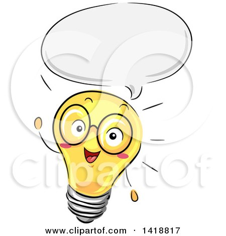 Clipart of a Sketched Light Bulb Mascot Giving a Lecture - Royalty Free Vector Illustration by BNP Design Studio