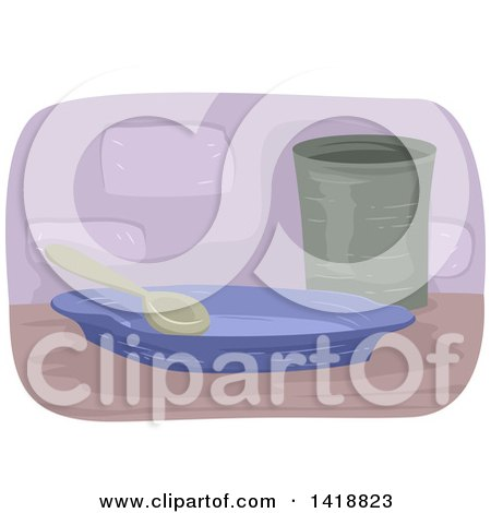 Clipart of a Spoon on a Plate by a Cup - Royalty Free Vector Illustration by BNP Design Studio