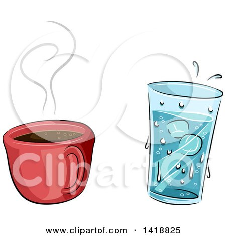 Clipart of a Cup of Hot Coffee and Cold Water - Royalty Free Vector Illustration by BNP Design Studio