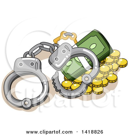 Clipart of a Pair of Handcuffs over Coins and Cash - Royalty Free Vector Illustration by BNP Design Studio