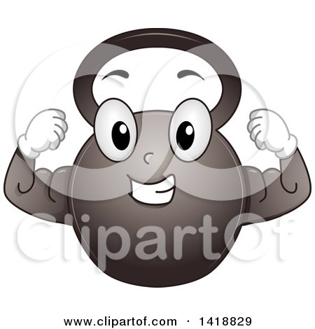 Clipart of a Kettlebell Mascot Flexing - Royalty Free ...