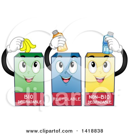 Clipart of Three Recycling Bins - Royalty Free Vector Illustration by BNP Design Studio