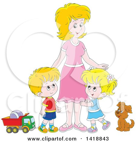 Clipart of a Cartoon Caucasian Mother with Her Son and Daughter, a Dog and Toys - Royalty Free Vector Illustration by Alex Bannykh