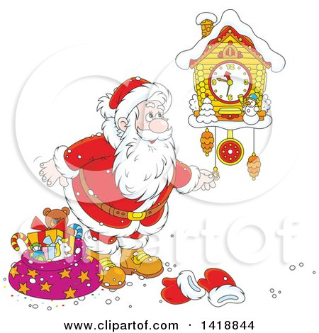 Clipart Of A Cartoon Christmas Santa Claus Looking At A Cuckoo Clock Royalty Free Vector Illustration