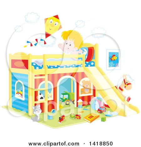 Clipart of a Cartoon Happy White Boy Stretching and Talking to a Kite on His Playhouse Bed - Royalty Free Vector Illustration by Alex Bannykh