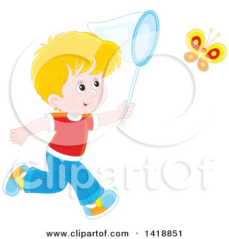 Clipart of a Cartoon Happy White Boy Chasing a Butterfly with a Net - Royalty Free Vector Illustration by Alex Bannykh