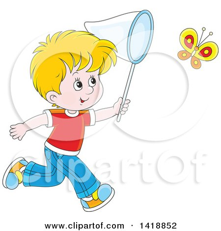 Clipart of a Cartoon Happy Caucasian Boy Chasing a Butterfly with a Net - Royalty Free Vector Illustration by Alex Bannykh