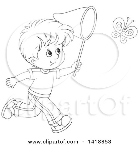 Clipart of a Cartoon Black and White Lineart Happy Boy Chasing a Butterfly with a Net - Royalty Free Vector Illustration by Alex Bannykh
