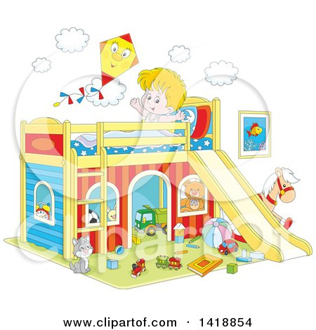 Clipart of a Cartoon Happy Caucasian Boy Stretching and Talking to a Kite on His Playhouse Bed - Royalty Free Vector Illustration by Alex Bannykh