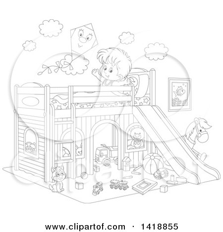 Clipart of a Cartoon Black and White Lineart Happy Boy Stretching and Talking to a Kite on His Playhouse Bed - Royalty Free Vector Illustration by Alex Bannykh