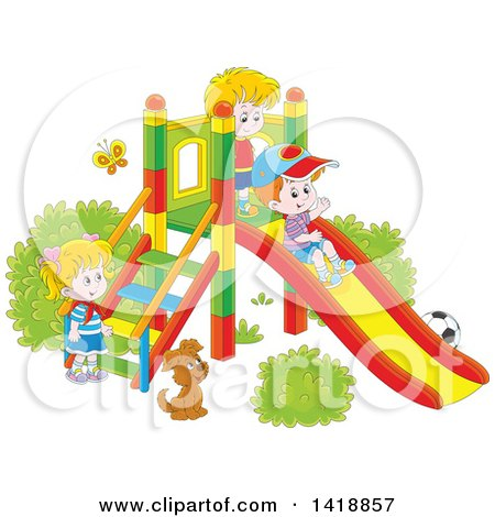 Clipart of a Cartoon Dog Watching Children Play on a Slide on a Playground - Royalty Free Vector Illustration by Alex Bannykh